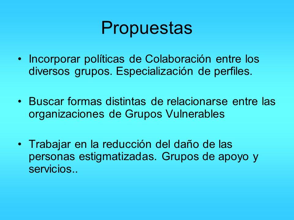 Propuestas Incorporar políticas de Colaboración entre los diversos grupos. Especialización de perfiles. Buscar formas distintas de relacionarse entre