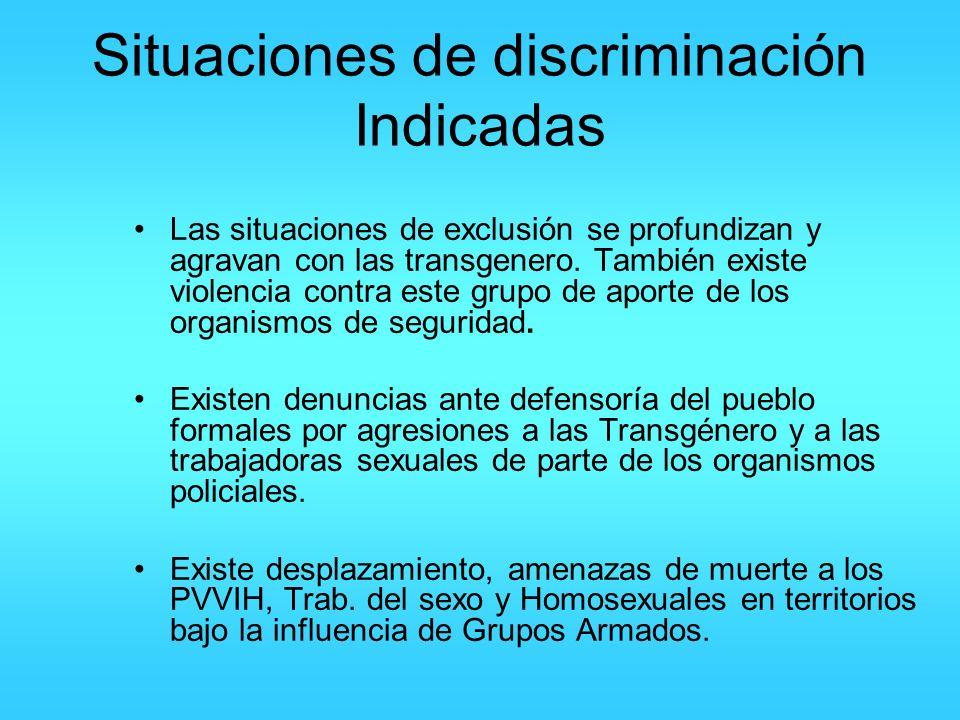 Situaciones de discriminación Indicadas Las situaciones de exclusión se profundizan y agravan con las transgenero. También existe violencia contra est