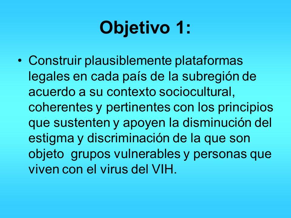 Objetivo 1: Construir plausiblemente plataformas legales en cada país de la subregión de acuerdo a su contexto sociocultural, coherentes y pertinentes