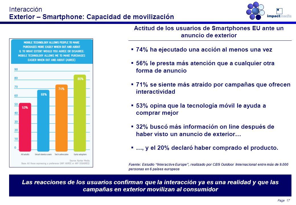 Page 16 Interacción Conectividad en movilidad El usuario español cada vez se conecta más a internet en movilidad y un altísimo porcentaje de veces lo