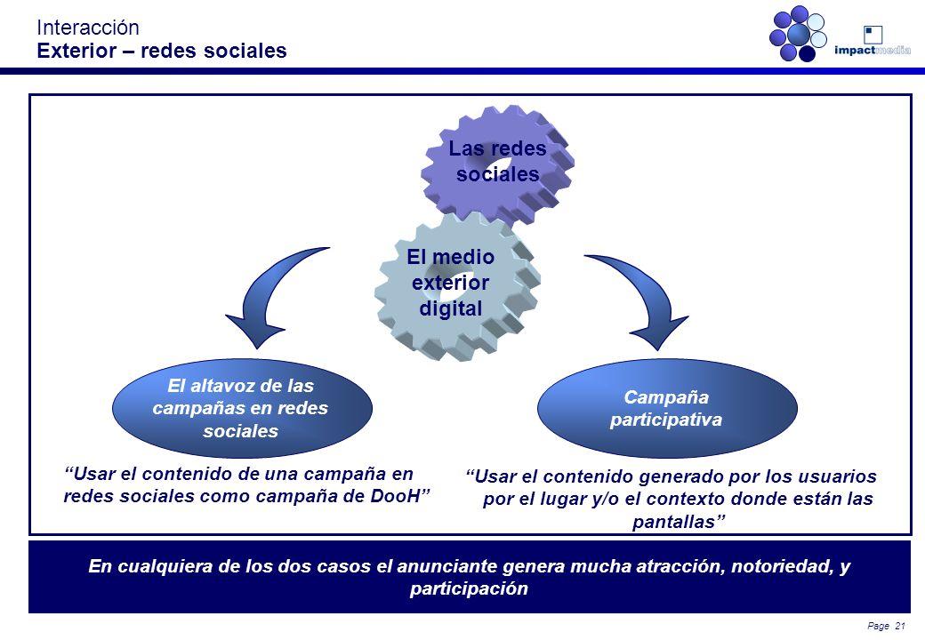 Page 20 Mucha actividad en las redes sociales en movilidad se articula alrededor de las marcas Interacción Exterior – Redes sociales en movilidad – ma