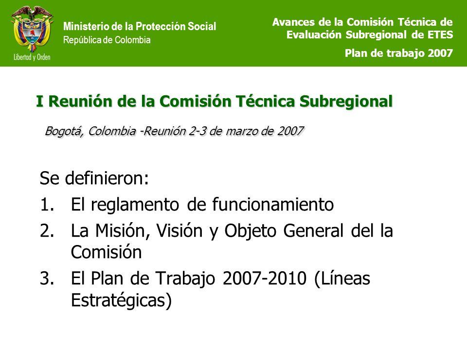 Ministerio de la Protección Social República de Colombia I Reunión de la Comisión Técnica Subregional Bogotá, Colombia -Reunión 2-3 de marzo de 2007 Se definieron: 1.El reglamento de funcionamiento 2.La Misión, Visión y Objeto General del la Comisión 3.El Plan de Trabajo 2007-2010 (Líneas Estratégicas) Avances de la Comisión Técnica de Evaluación Subregional de ETES Plan de trabajo 2007