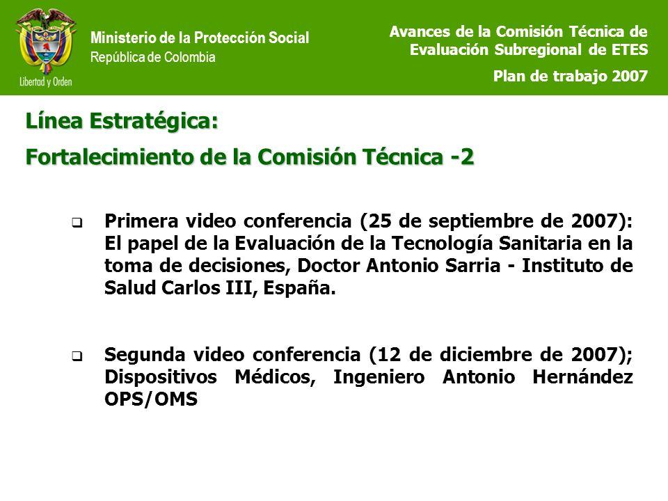 Ministerio de la Protección Social República de Colombia Línea Estratégica: Fortalecimiento de la Comisión Técnica -2 Primera video conferencia (25 de septiembre de 2007): El papel de la Evaluación de la Tecnología Sanitaria en la toma de decisiones, Doctor Antonio Sarria - Instituto de Salud Carlos III, España.