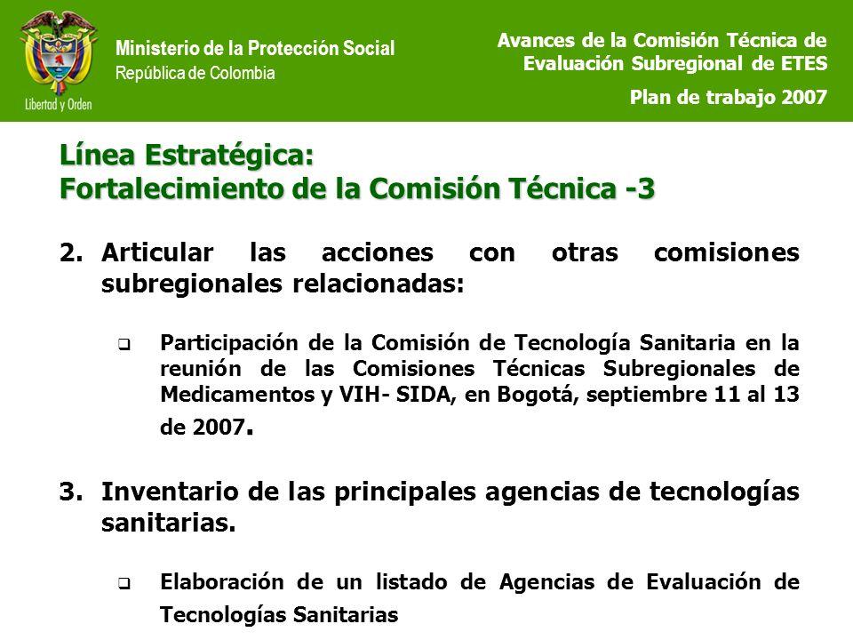 Ministerio de la Protección Social República de Colombia Línea Estratégica: Fortalecimiento de la Comisión Técnica -3 2.Articular las acciones con otras comisiones subregionales relacionadas: Participación de la Comisión de Tecnología Sanitaria en la reunión de las Comisiones Técnicas Subregionales de Medicamentos y VIH- SIDA, en Bogotá, septiembre 11 al 13 de 2007.