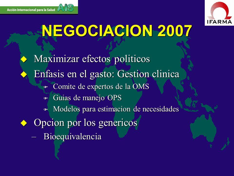 NEGOCIACION 2007 u Maximizar efectos politicos u Enfasis en el gasto: Gestion clinica F Comite de expertos de la OMS F Guias de manejo OPS F Modelos p