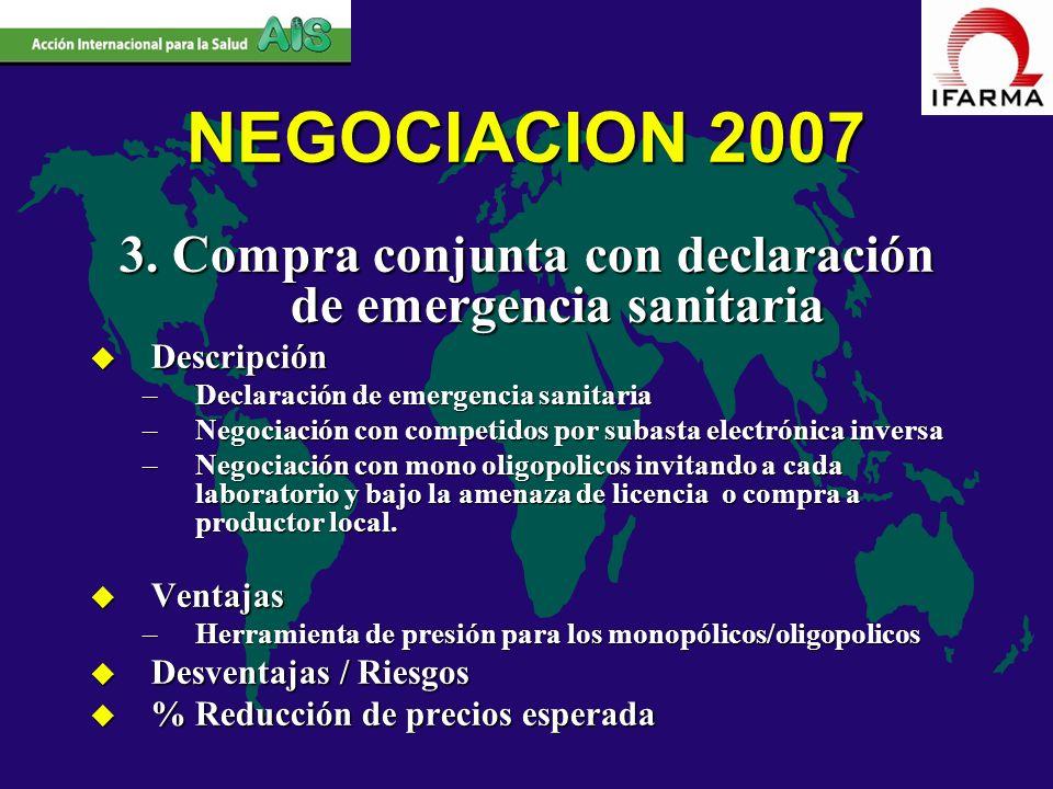 NEGOCIACION 2007 3. Compra conjunta con declaración de emergencia sanitaria u Descripción –Declaración de emergencia sanitaria –Negociación con compet
