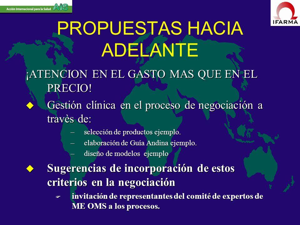 PROPUESTAS HACIA ADELANTE ¡ATENCION EN EL GASTO MAS QUE EN EL PRECIO! u Gestión clínica en el proceso de negociación a travès de: –selección de produc