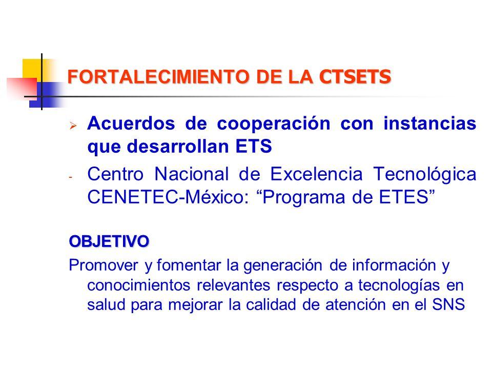 FORTALECIMIENTO DE LA CTSETS Acuerdos de cooperación con instancias que desarrollan ETS - Centro Nacional de Excelencia Tecnológica CENETEC-México: Pr