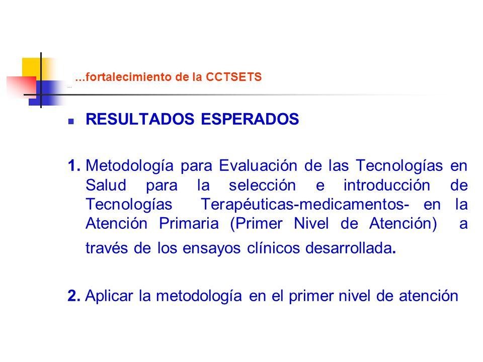 ... RESULTADOS ESPERADOS 1.Metodología para Evaluación de las Tecnologías en Salud para la selección e introducción de Tecnologías Terapéuticas-medica
