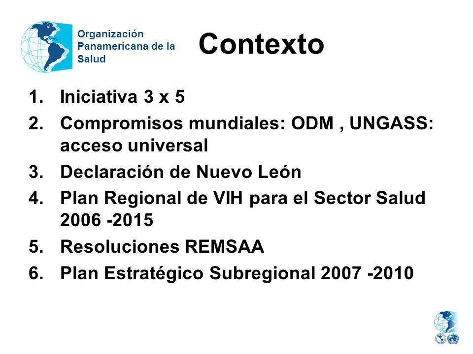 Contexto 1.Iniciativa 3 x 5 2.Compromisos mundiales: ODM, UNGASS: acceso universal 3.Declaración de Nuevo León 4.Plan Regional de VIH para el Sector S