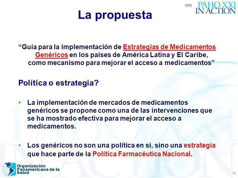 2006 Organización Panamericana de la Salud 10 La propuesta Guía para la implementación de Estrategias de Medicamentos Genéricos en los países de Améri