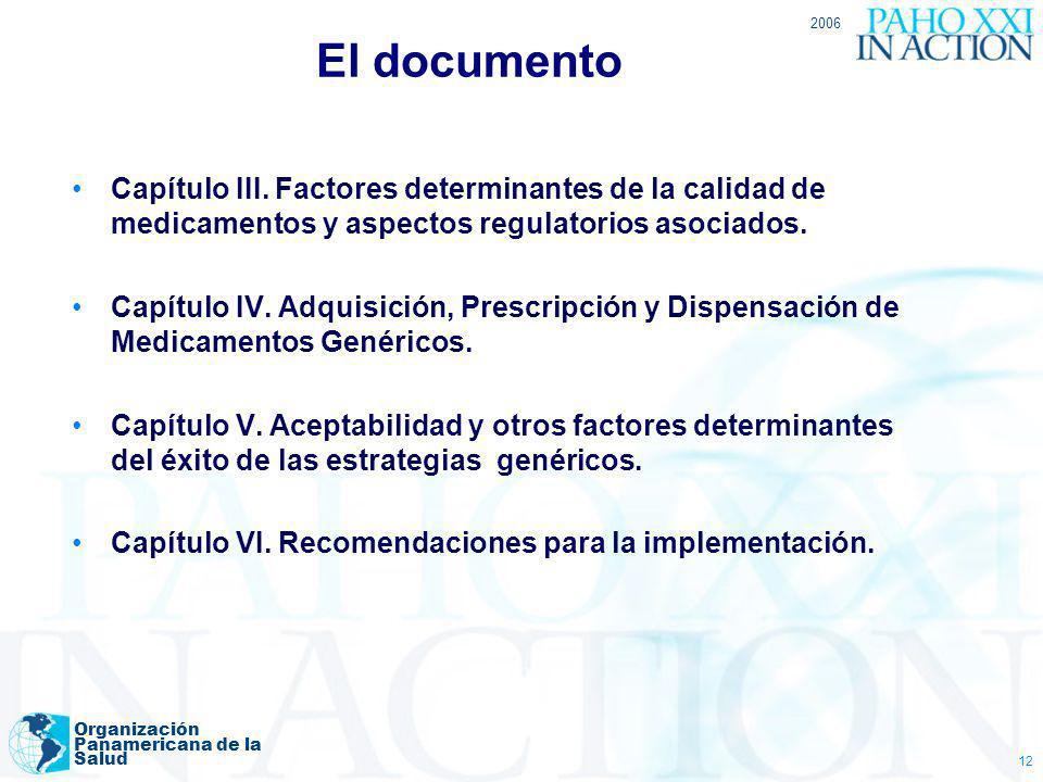 2006 Organización Panamericana de la Salud 12 Capítulo III. Factores determinantes de la calidad de medicamentos y aspectos regulatorios asociados. Ca