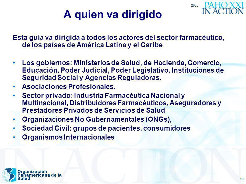 2006 Organización Panamericana de la Salud 13 A quien va dirigido Esta guía va dirigida a todos los actores del sector farmacéutico, de los países de