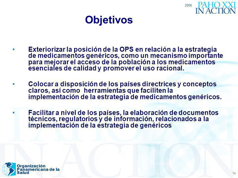2006 Organización Panamericana de la Salud 14 Objetivos Exteriorizar la posición de la OPS en relación a la estrategia de medicamentos genéricos, como