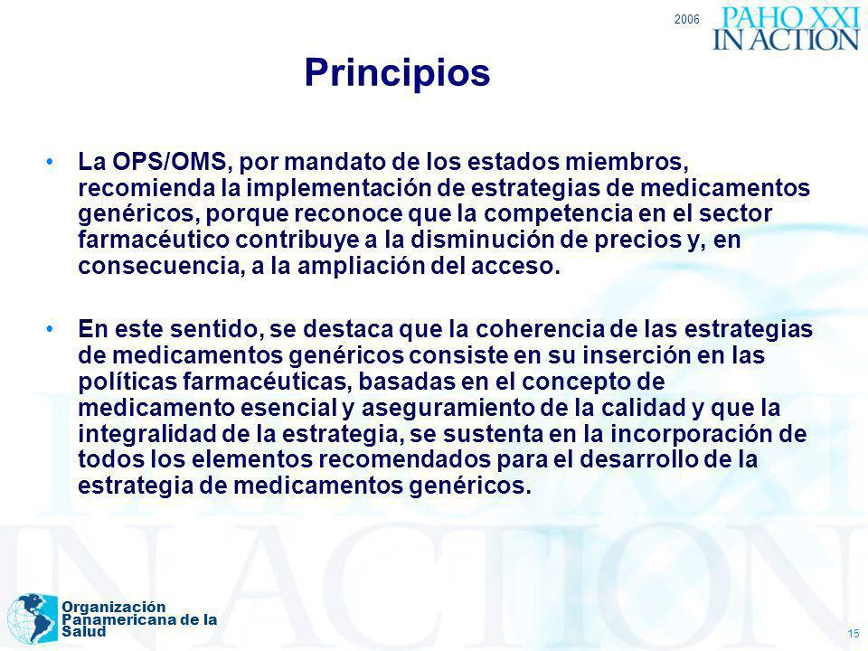 2006 Organización Panamericana de la Salud 15 Principios La OPS/OMS, por mandato de los estados miembros, recomienda la implementación de estrategias