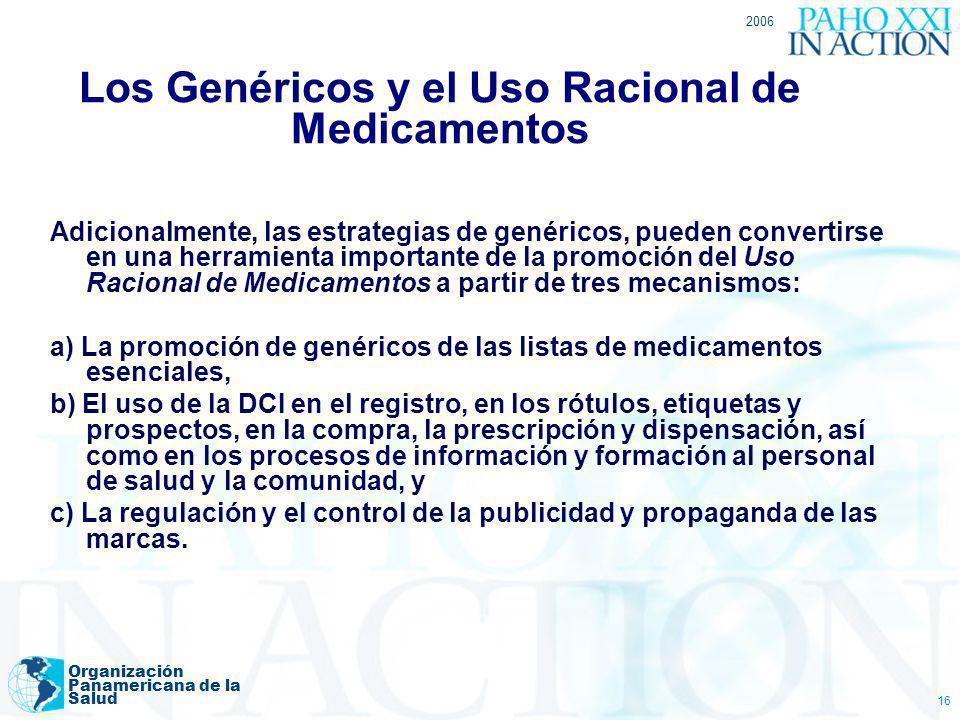 2006 Organización Panamericana de la Salud 16 Los Genéricos y el Uso Racional de Medicamentos Adicionalmente, las estrategias de genéricos, pueden con