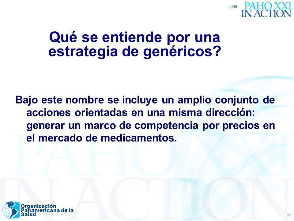 2006 Organización Panamericana de la Salud 17 Qué se entiende por una estrategia de genéricos? Bajo este nombre se incluye un amplio conjunto de accio