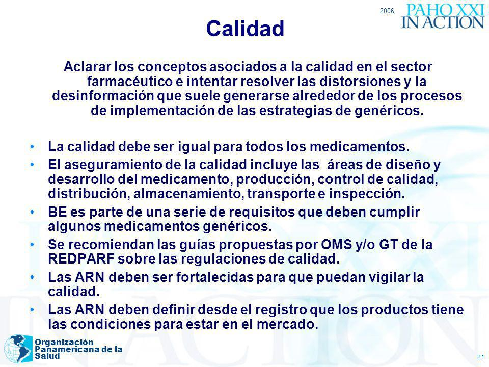 2006 Organización Panamericana de la Salud 21 Calidad Aclarar los conceptos asociados a la calidad en el sector farmacéutico e intentar resolver las d