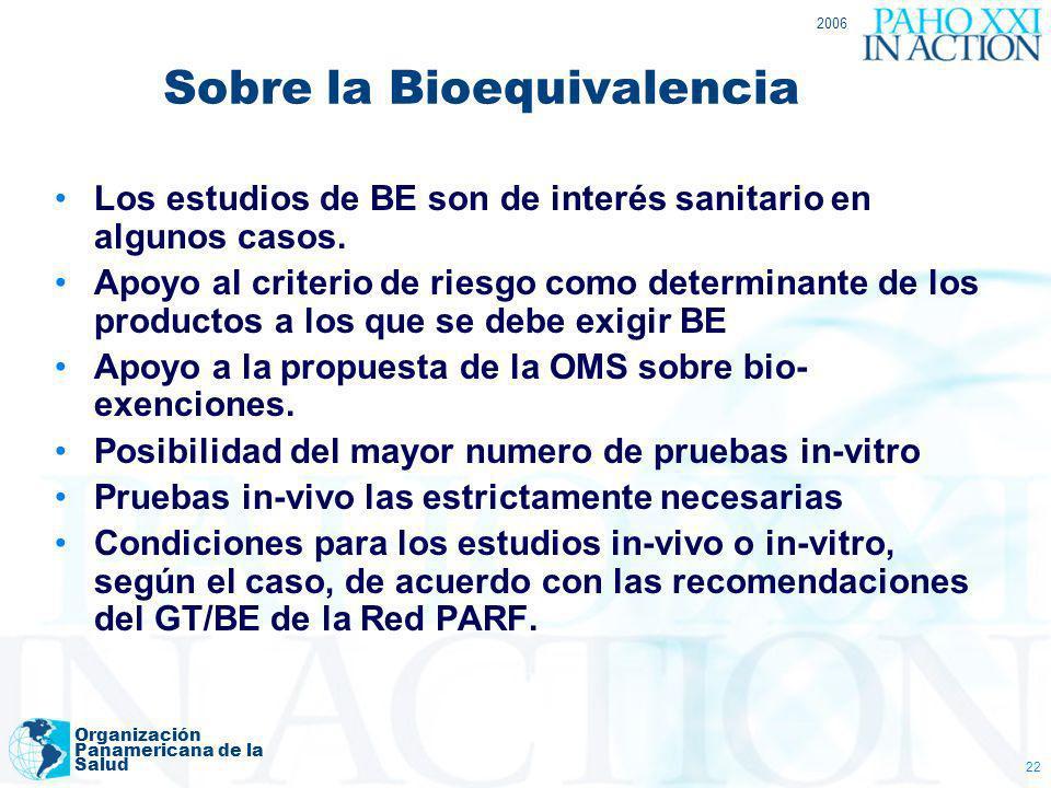 2006 Organización Panamericana de la Salud 22 Sobre la Bioequivalencia Los estudios de BE son de interés sanitario en algunos casos. Apoyo al criterio