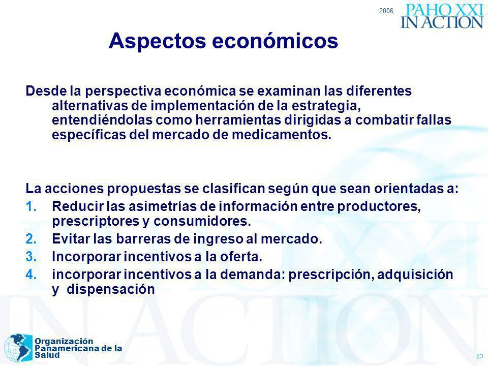 2006 Organización Panamericana de la Salud 23 Aspectos económicos Desde la perspectiva económica se examinan las diferentes alternativas de implementa