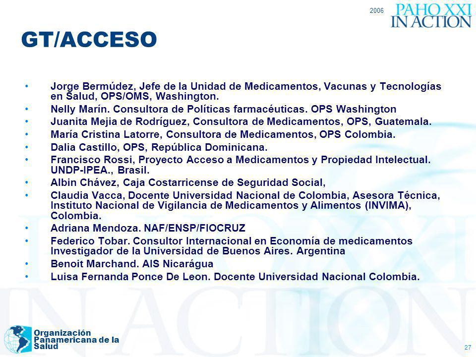 2006 Organización Panamericana de la Salud 27 GT/ACCESO Jorge Bermúdez, Jefe de la Unidad de Medicamentos, Vacunas y Tecnologías en Salud, OPS/OMS, Wa