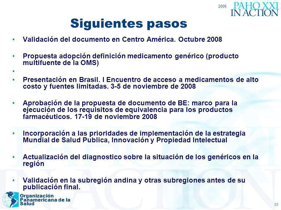2006 Organización Panamericana de la Salud 28 Validación del documento en Centro América. Octubre 2008 Propuesta adopción definición medicamento genér