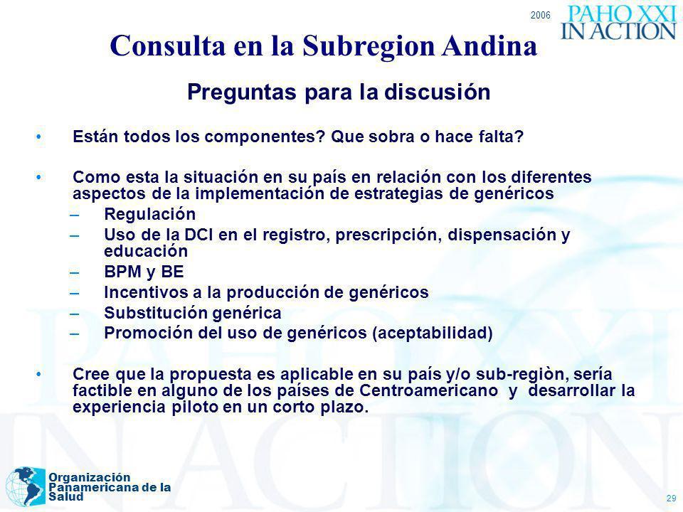 2006 Organización Panamericana de la Salud 29 Preguntas para la discusión Están todos los componentes? Que sobra o hace falta? Como esta la situación