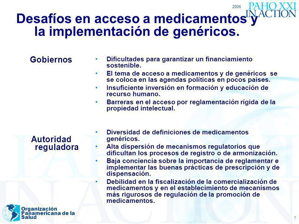 2006 Organización Panamericana de la Salud 7 Desafíos en acceso a medicamentos y la implementación de genéricos. Gobiernos Autoridad reguladora Dificu