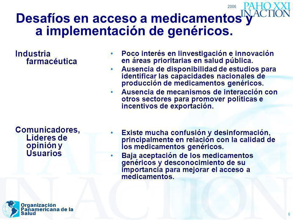 2006 Organización Panamericana de la Salud 8 Desafíos en acceso a medicamentos y a implementación de genéricos. Industria farmacéutica Comunicadores,
