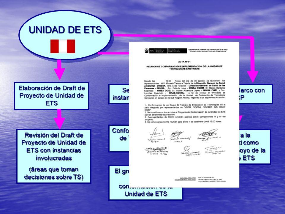 UNIDAD DE ETS Elaboración de Draft de Proyecto de Unidad de ETS Sensibilización a instancias involucradas Revisión del Draft de Proyecto de Unidad de