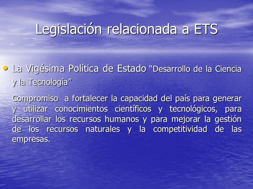 Legislación relacionada a ETS La Vigésima Política de Estado Desarrollo de la Ciencia y la Tecnología La Vigésima Política de Estado Desarrollo de la