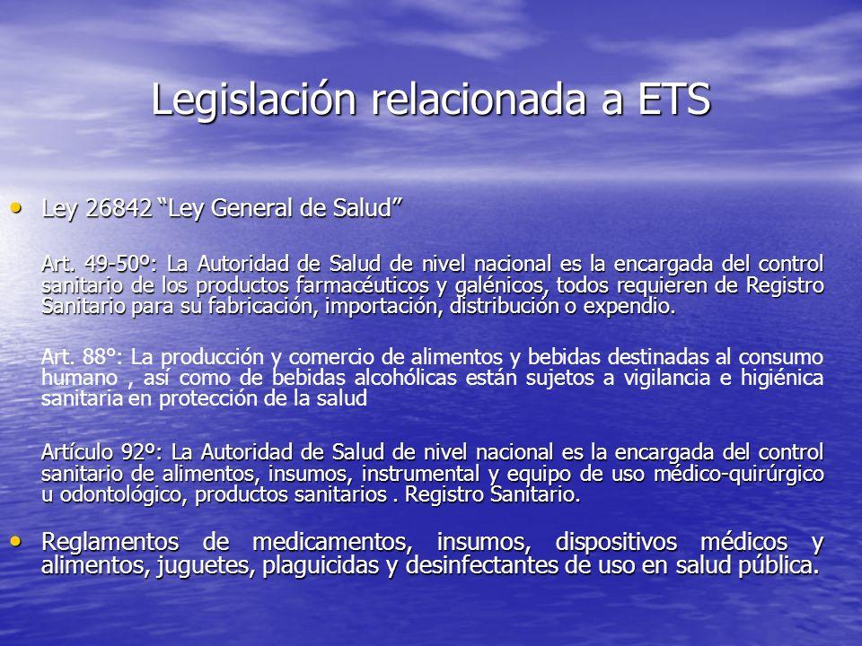 Legislación relacionada a ETS Ley 26842 Ley General de Salud Ley 26842 Ley General de Salud Art. 49-50º: La Autoridad de Salud de nivel nacional es la