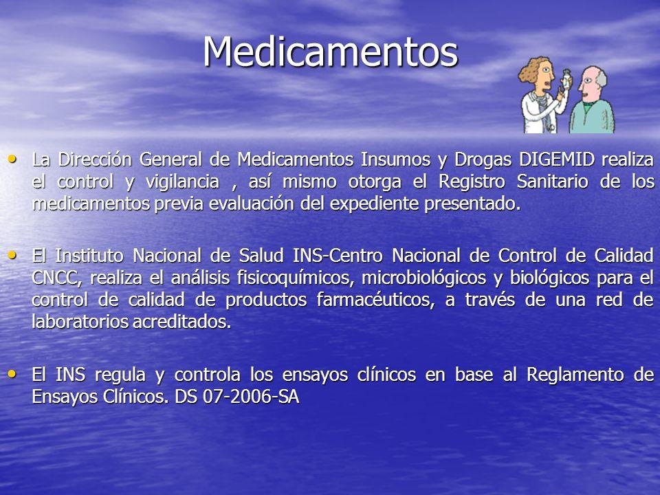 La Dirección General de Medicamentos Insumos y Drogas DIGEMID realiza el control y vigilancia, así mismo otorga el Registro Sanitario de los medicamen