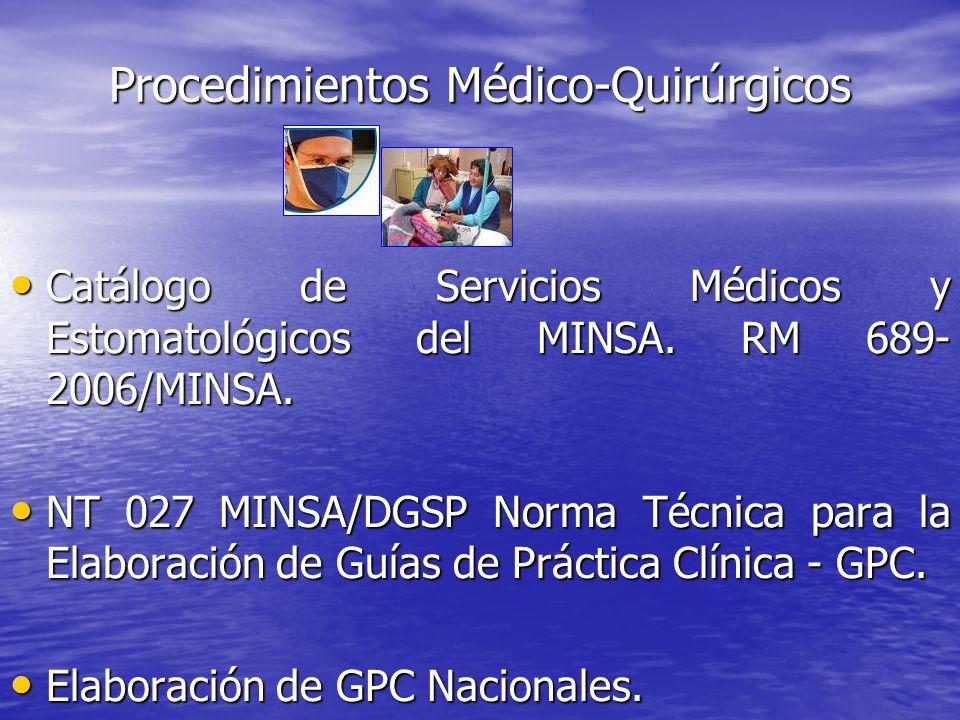 Catálogo de Servicios Médicos y Estomatológicos del MINSA. RM 689- 2006/MINSA. Catálogo de Servicios Médicos y Estomatológicos del MINSA. RM 689- 2006