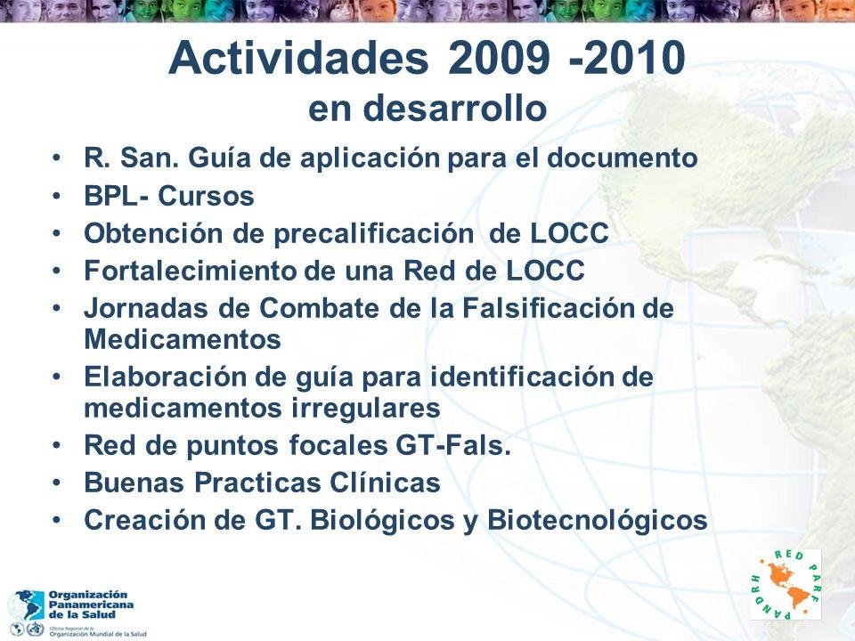 Actividades 2009 -2010 en desarrollo R. San. Guía de aplicación para el documento BPL- Cursos Obtención de precalificación de LOCC Fortalecimiento de