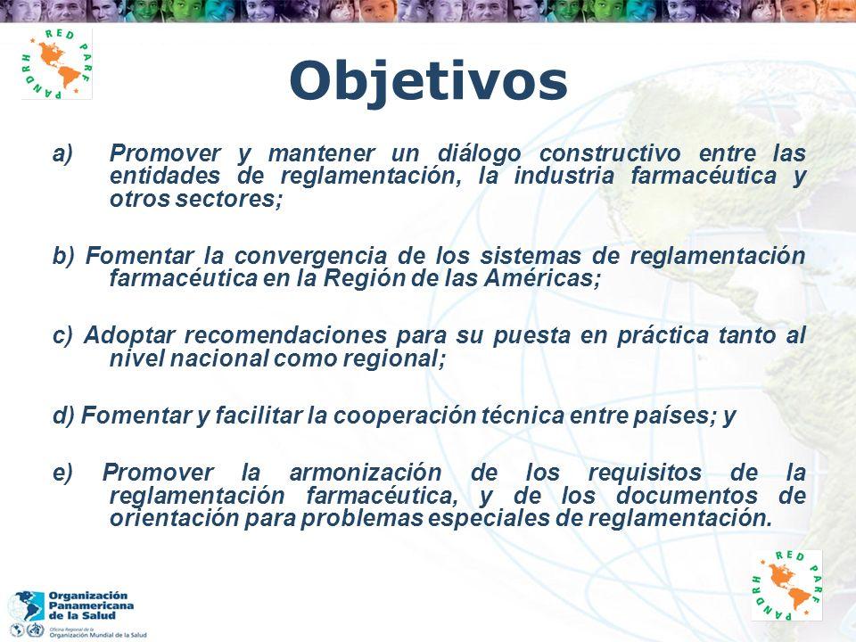 Objetivos a)Promover y mantener un diálogo constructivo entre las entidades de reglamentación, la industria farmacéutica y otros sectores; b) Fomentar