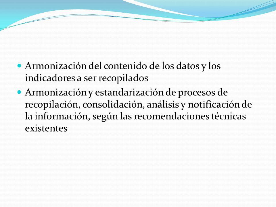 Armonización del contenido de los datos y los indicadores a ser recopilados Armonización y estandarización de procesos de recopilación, consolidación, análisis y notificación de la información, según las recomendaciones técnicas existentes