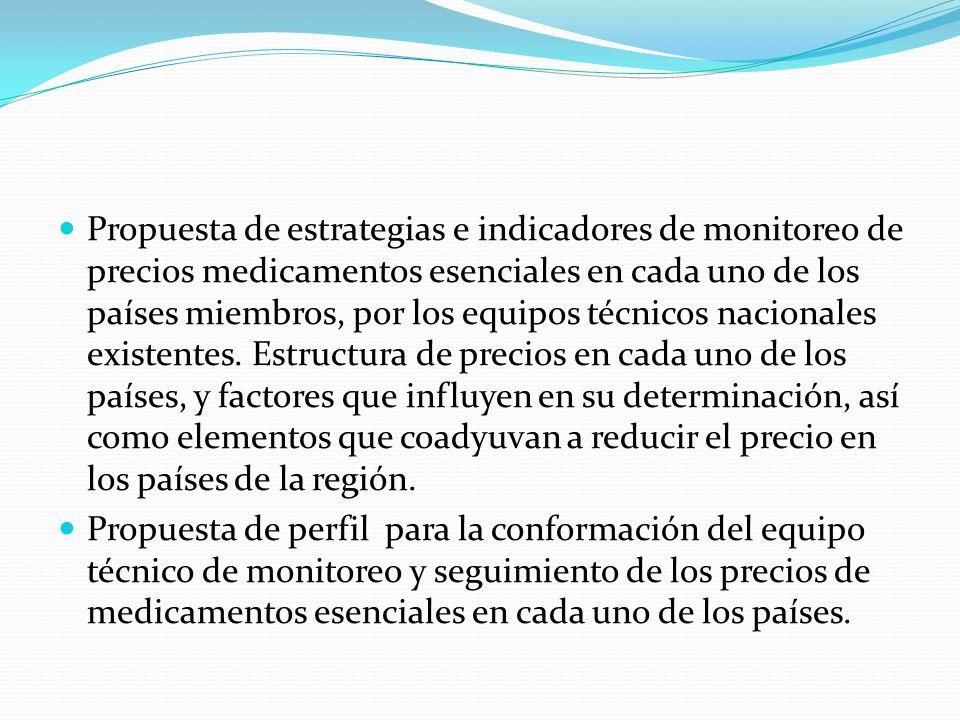 Propuesta de estrategias e indicadores de monitoreo de precios medicamentos esenciales en cada uno de los países miembros, por los equipos técnicos nacionales existentes.