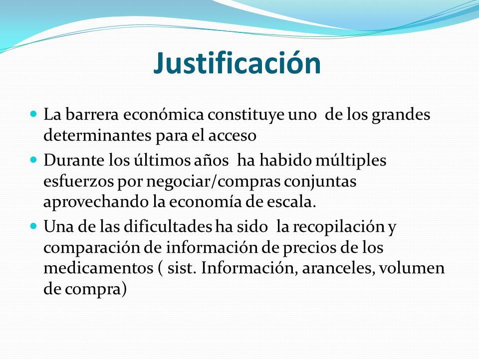 Justificación La barrera económica constituye uno de los grandes determinantes para el acceso Durante los últimos años ha habido múltiples esfuerzos por negociar/compras conjuntas aprovechando la economía de escala.