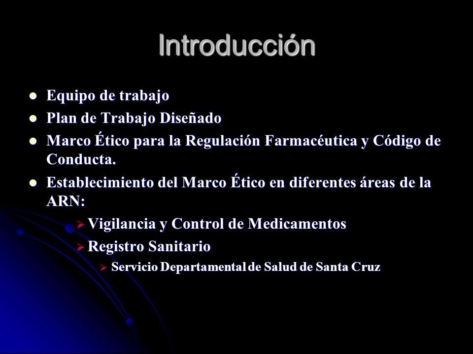 Objetivos del Marco Ético y Código de Conducta en Bolivia Desarrollar un Plan de Trabajo sobre la base de la Resolución Ministerial N° 113 de Marzo 6, 2007 Desarrollar un Plan de Trabajo sobre la base de la Resolución Ministerial N° 113 de Marzo 6, 2007 Implementar el Plan de Trabajo para la promoción y sistematización de elementos establecidos en el Marco Ético de Regulación Farmacéutica Implementar el Plan de Trabajo para la promoción y sistematización de elementos establecidos en el Marco Ético de Regulación Farmacéutica Implementar las recomendaciones del estudio Medición de Transaparencia del Sector Público Farmacéutico para Buena Gobernabilidad Implementar las recomendaciones del estudio Medición de Transaparencia del Sector Público Farmacéutico para Buena Gobernabilidad