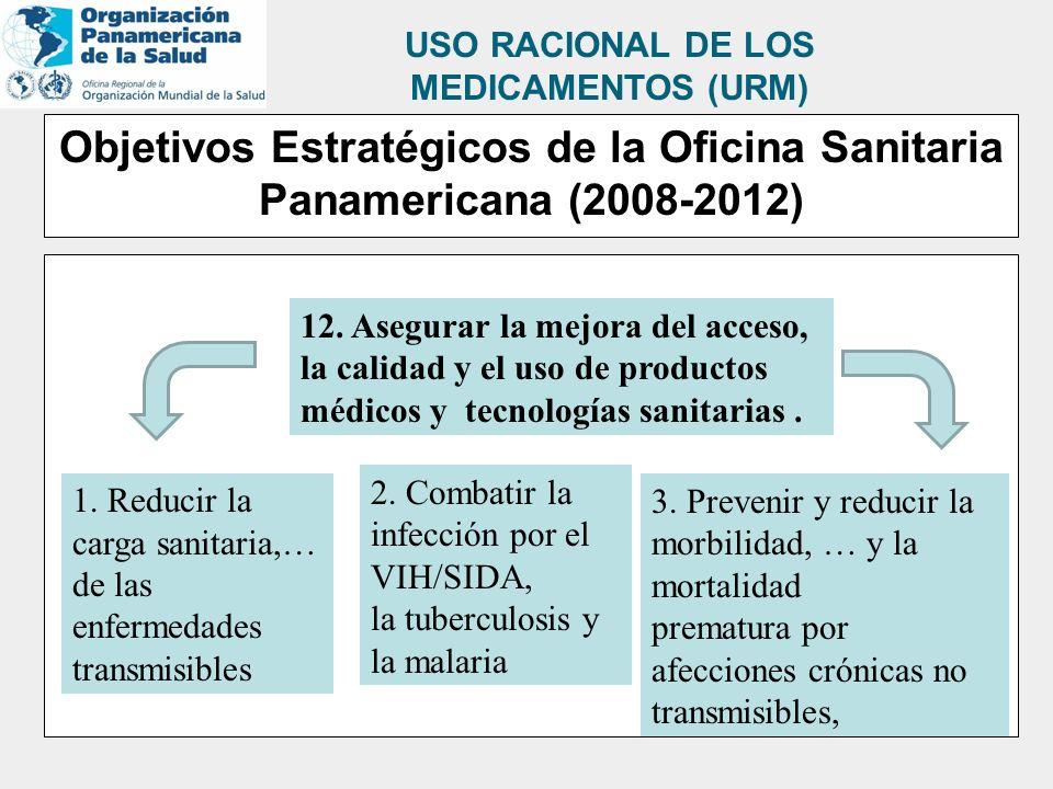 Objetivos Estratégicos de la Oficina Sanitaria Panamericana (2008-2012) 12. Asegurar la mejora del acceso, la calidad y el uso de productos médicos y