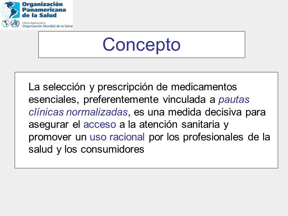 Concepto La selección y prescripción de medicamentos esenciales, preferentemente vinculada a pautas clínicas normalizadas, es una medida decisiva para