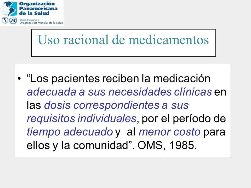 Uso racional de medicamentos Los pacientes reciben la medicación adecuada a sus necesidades clínicas en las dosis correspondientes a sus requisitos in