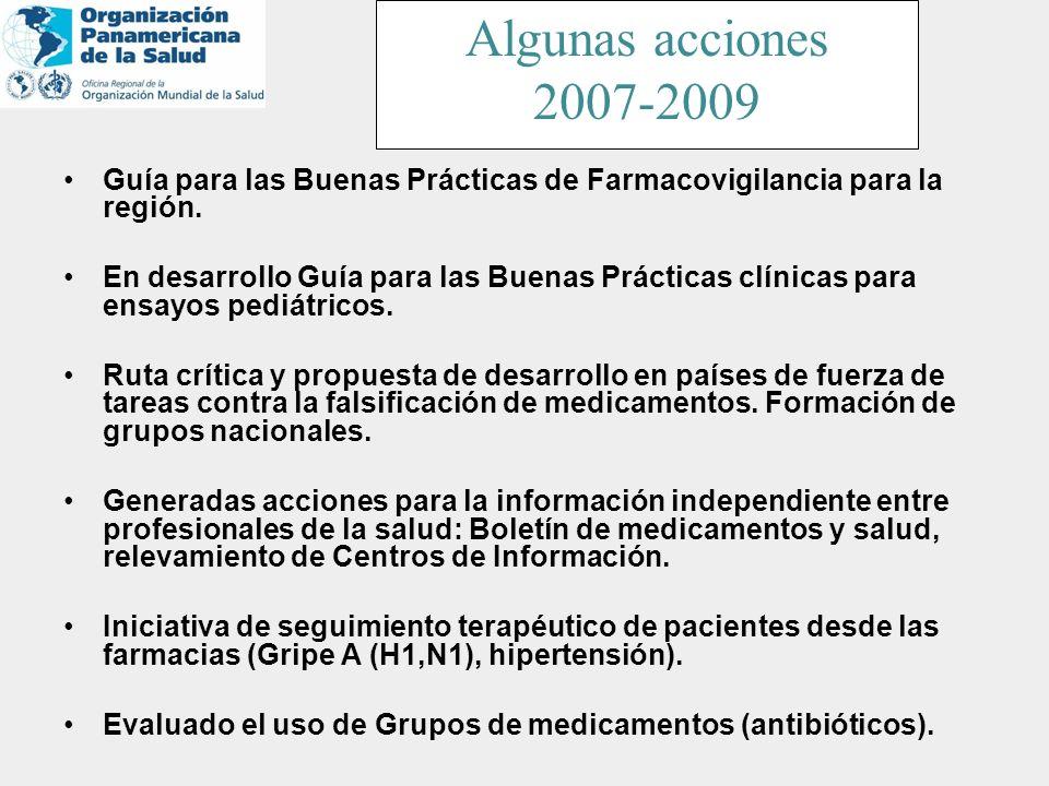 Guía para las Buenas Prácticas de Farmacovigilancia para la región. En desarrollo Guía para las Buenas Prácticas clínicas para ensayos pediátricos. Ru