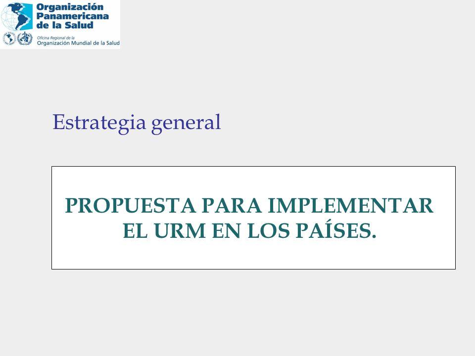 Estrategia general PROPUESTA PARA IMPLEMENTAR EL URM EN LOS PAÍSES.