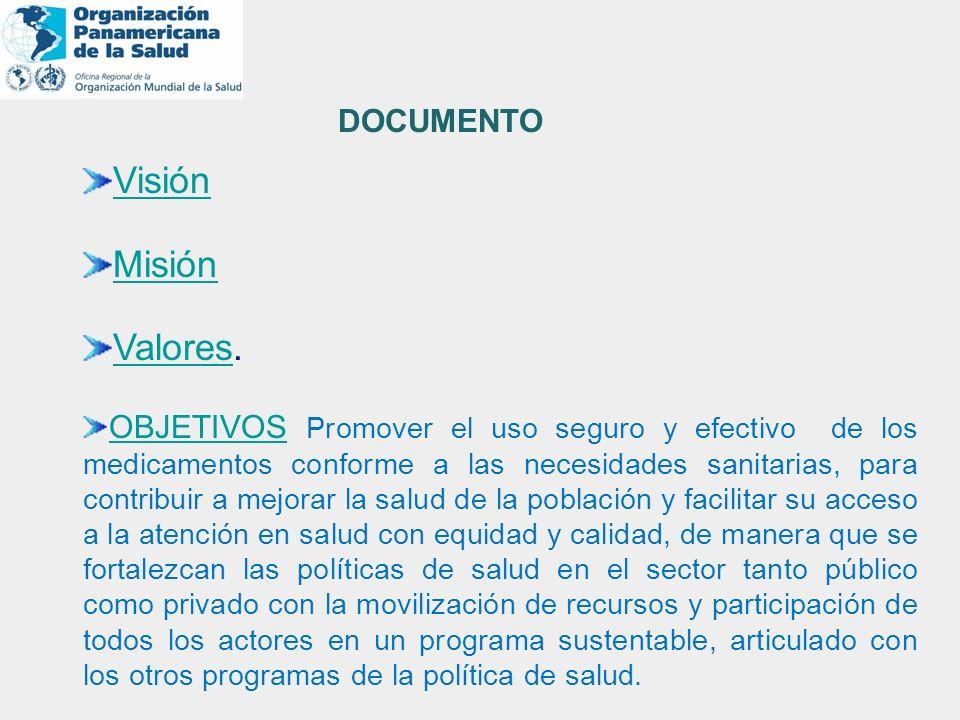 Visión Misión ValoresValores. OBJETIVOSOBJETIVOS Promover el uso seguro y efectivo de los medicamentos conforme a las necesidades sanitarias, para con