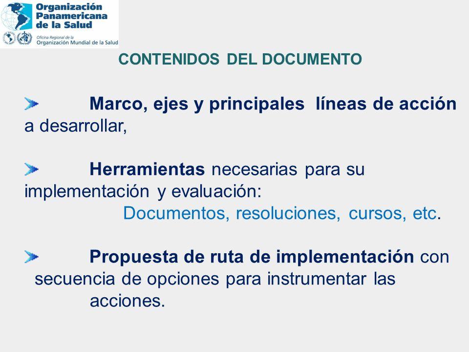 Marco, ejes y principales líneas de acción a desarrollar, Herramientas necesarias para su implementación y evaluación: Documentos, resoluciones, curso