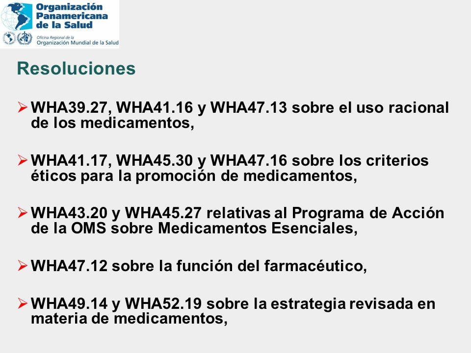 Resoluciones WHA39.27, WHA41.16 y WHA47.13 sobre el uso racional de los medicamentos, WHA41.17, WHA45.30 y WHA47.16 sobre los criterios éticos para la