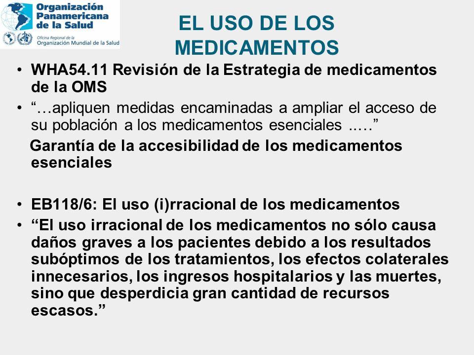EL USO DE LOS MEDICAMENTOS WHA54.11 Revisión de la Estrategia de medicamentos de la OMS …apliquen medidas encaminadas a ampliar el acceso de su poblac