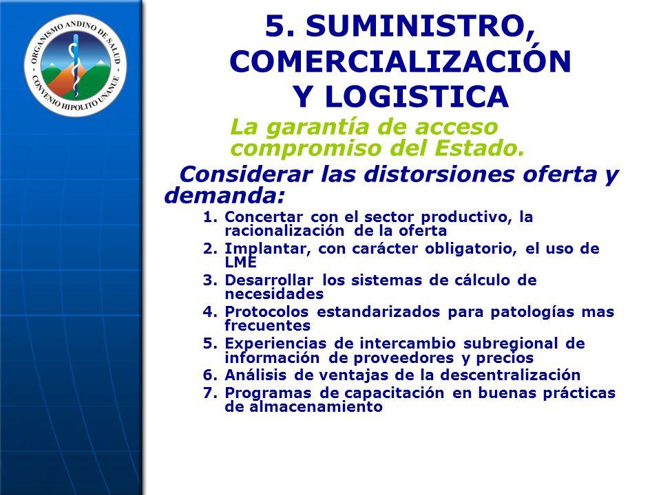 5. SUMINISTRO, COMERCIALIZACIÓN Y LOGISTICA La garantía de acceso compromiso del Estado.